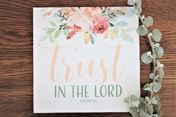 "Trust Blush - Luncheon Napkins with KJV Bible Verse - 6.5"" x 6.5"" (20/pkg)"
