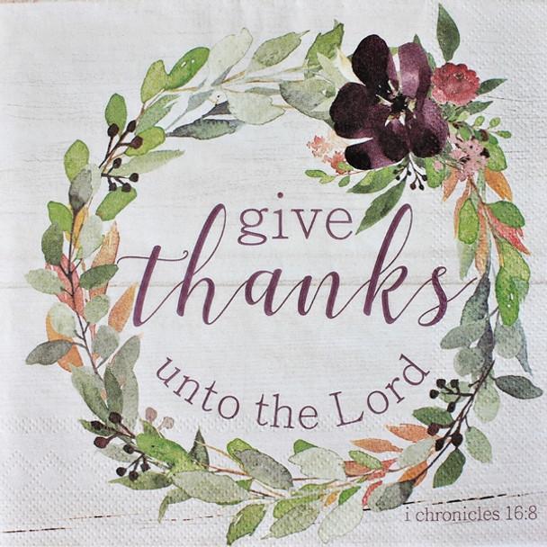 "Thankful Plum Wreath - Luncheon Napkins with KJV Bible Verse - 6.5"" x 6.5"" (20/pkg)"