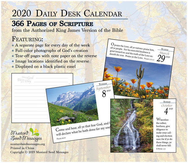 Verse for the Day - Daily Desk Calendar 2020 - Back Cover