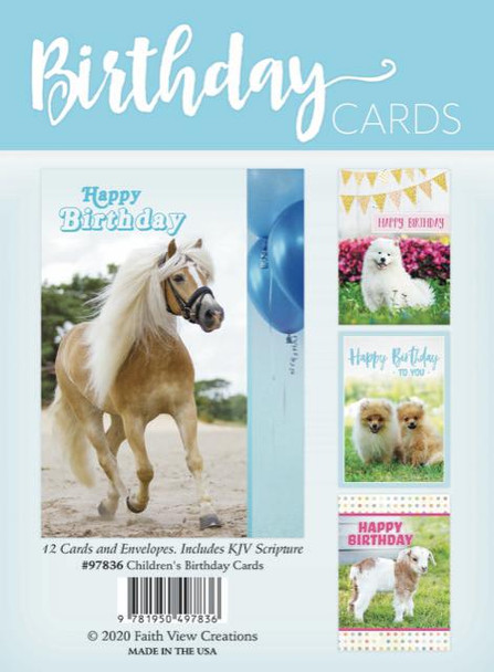 KJV Boxed Cards -  Fluffy Animal Friends - Children's Birthday Cards