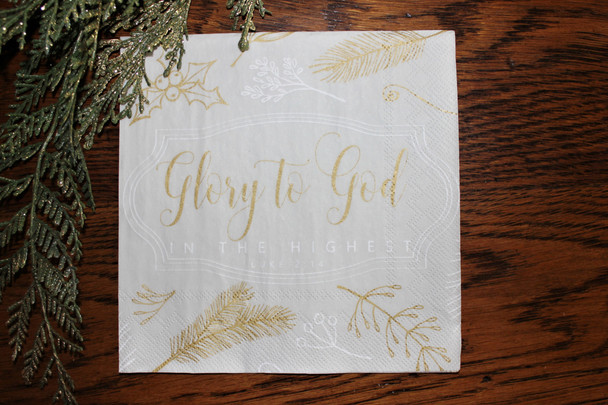 "Glory to God - Christmas Luncheon Napkins with KJV Bible Verse - 6.5"" x 6.5"" (20/pkg)"