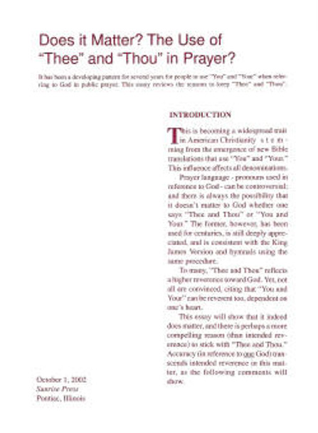 Does it Matter? The Use of Thee and Thou in Prayer - Book