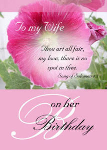 "To My Wife on Her Birthday - 5"" x 7"" KJV Greeting Card 423"