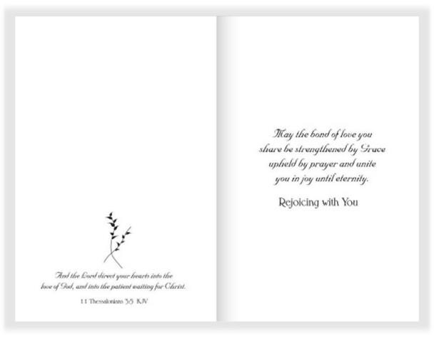 "The Union Of Hearts Wedding Card - 5"" x 7"" KJV Greeting Card"