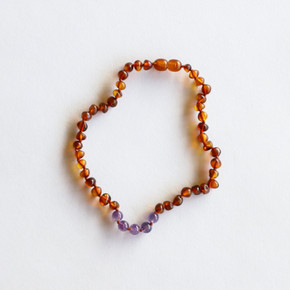 Polished Cognac + Amethyst Amber Necklace