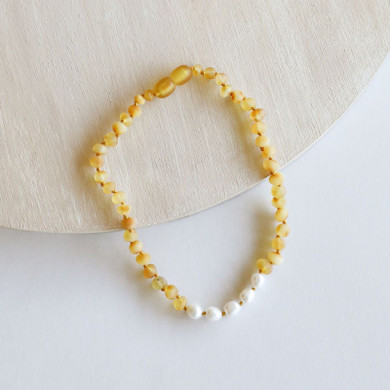 Raw Honey Amber + Pearl Necklace