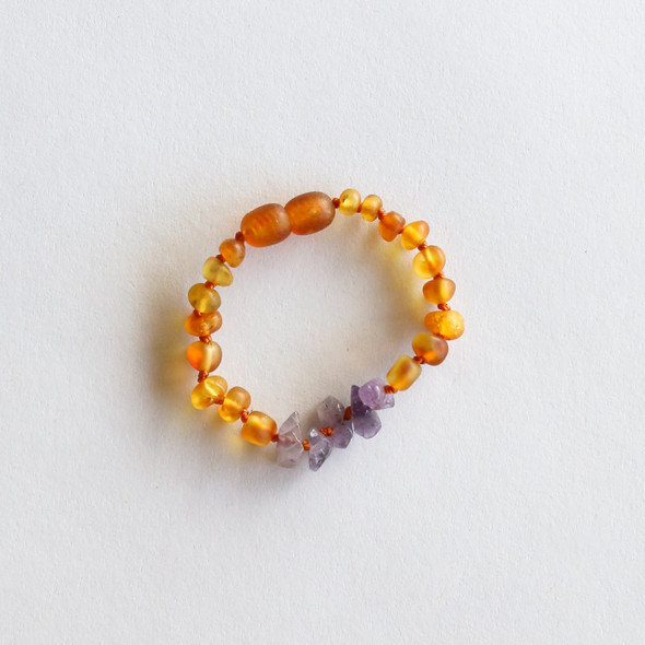 Raw Honey + Amethyst Amber Anklet or Bracelet