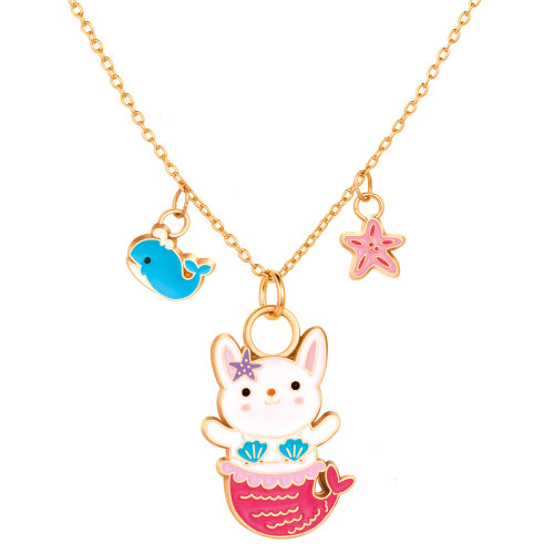 Rabbit Mermaid Charming Whimsy Necklace by Girl Nation