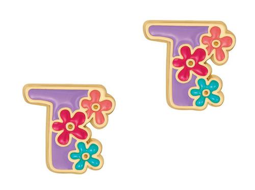 "Cutie Initial Stud Earrings ""T"" by Girl Nation"