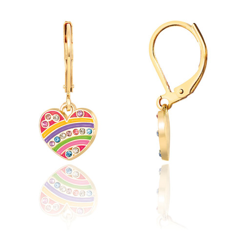 Crystal Rainbow Heart Lever Back Earrings by Girl Nation