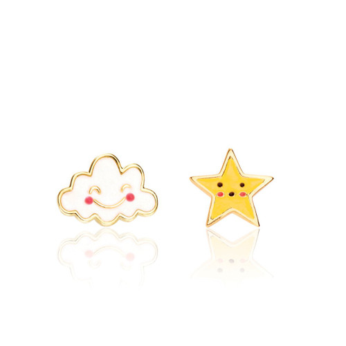The Perfect Pair Head in the Clouds Cutie Enamel Stud Earrings by Girl Nation