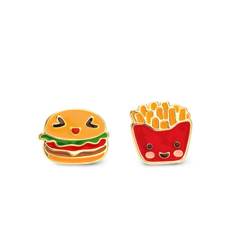 The Perfect Pair- Hamburger and French Fry Cutie Enamel Stud Earrings by Girl Nation