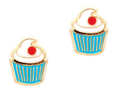 Classic Cupcake Cutie Enamel Stud Earrings by Girl Nation