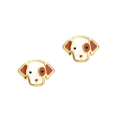 Perky Puppy Cutie Enamel Stud Earrings by Girl Nation