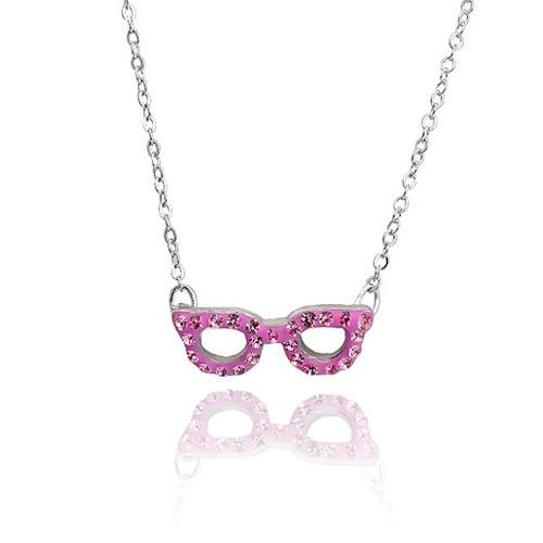 Crystal Glasses Necklace- Fuchsia