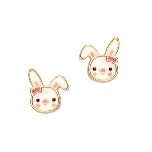 Bouncy Bunny Cutie Enamel Stud Earrings by Girl Nation