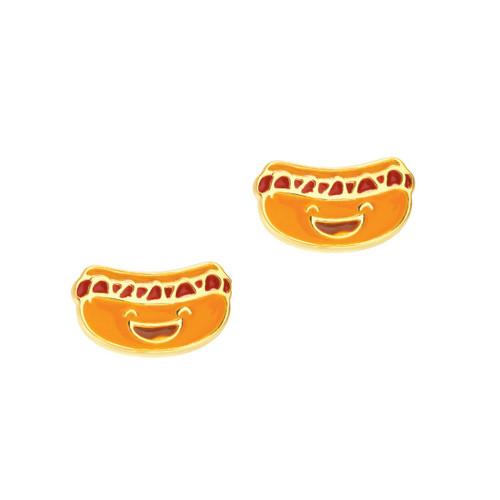 Happy Hot Dog Cutie Enamel Stud Earrings by Girl Nation