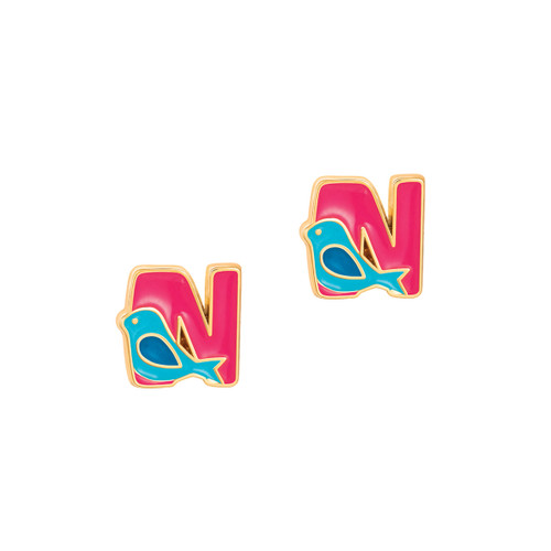 """Cutie Initial Stud Earrings """"N"""" by Girl Nation"""