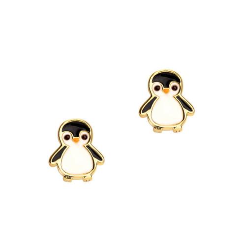 Personable Penguin Cutie Enamel Stud Earrings by Girl Nation