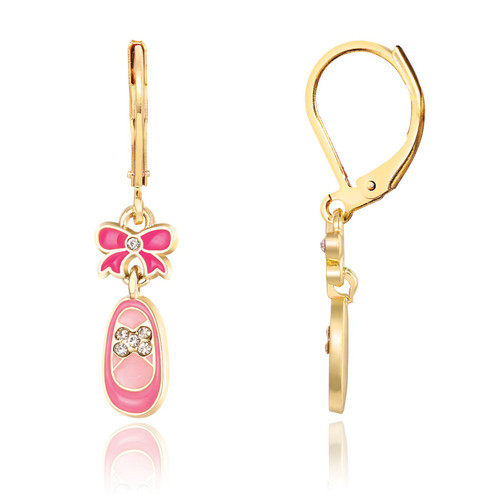 Pink Crystal Ballet Shoe Lever Back Earrings by Girl Nation