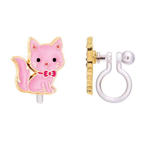 Pink Kitty Cutie Clip On Earrings by Girl Nation
