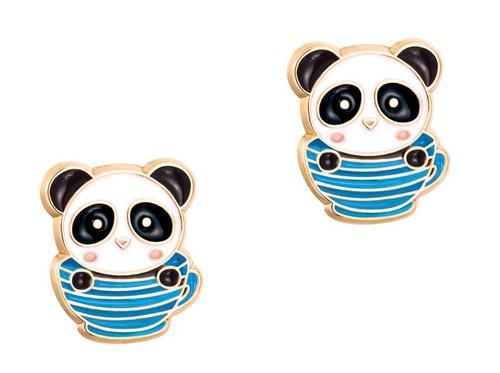 Panda Teacup Cutie Enamel Stud Earrings by Girl Nation