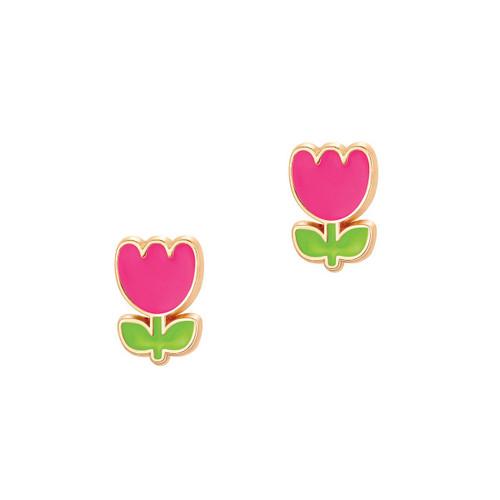 Pink Tulip Cutie Enamel Stud Earrings by Girl Nation