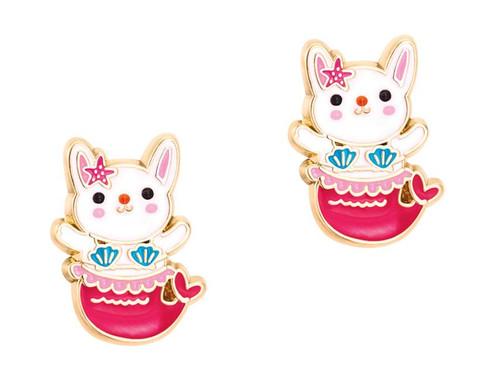 Bunny Mermaid Cutie Enamel Stud Earrings by Girl Nation