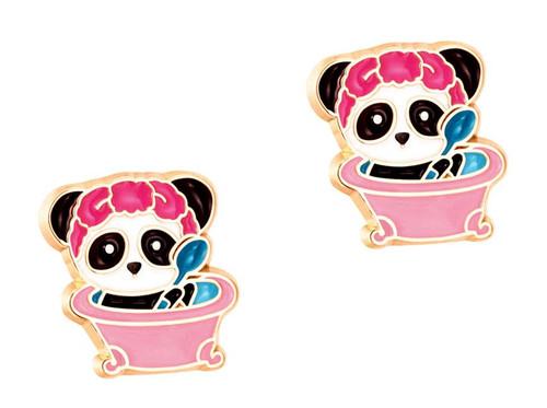 Panda Bubblebath Cutie Enamel Stud Earrings by Girl Nation