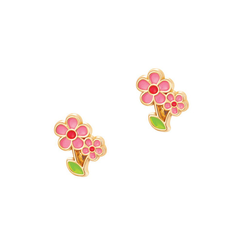 Little Pink Flower Cutie Enamel Stud Earrings by Girl Nation