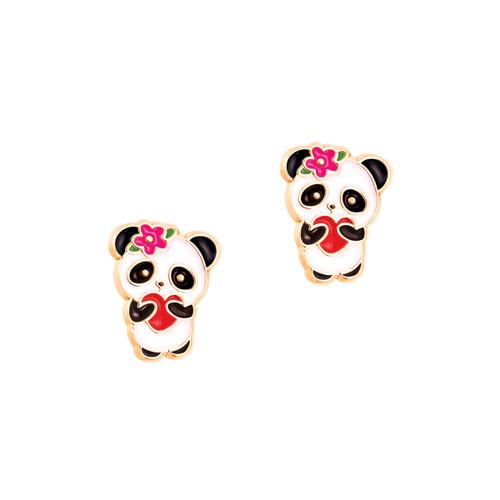 Panda Love Cutie Enamel Stud Earrings by Girl Nation