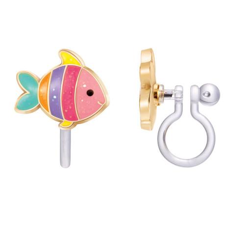 Glitter Rainbow Fish Cutie Clip On Earrings by Girl Nation