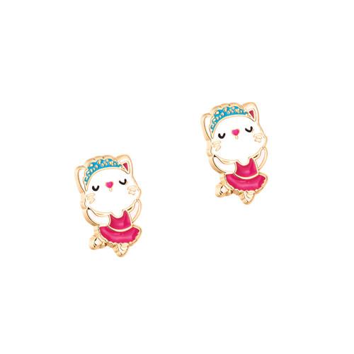 Kitty Ballerina Cutie Enamel Stud Earrings by Girl Nation