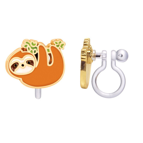 Playful Sloth Cutie Clip On Earrings by Girl Nation