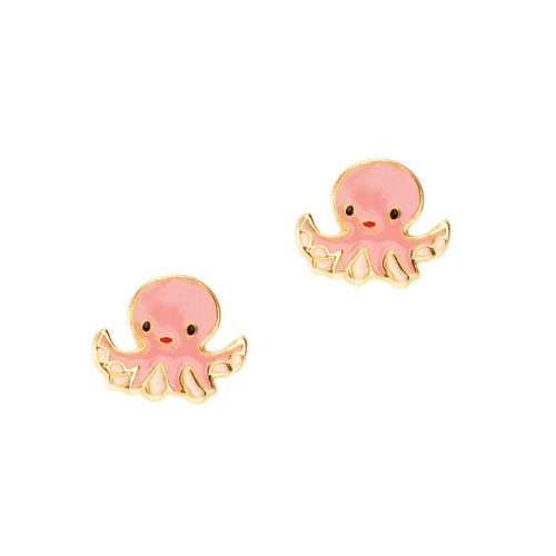 Obedient Octopus Cutie Enamel Stud Earrings by Girl Nation