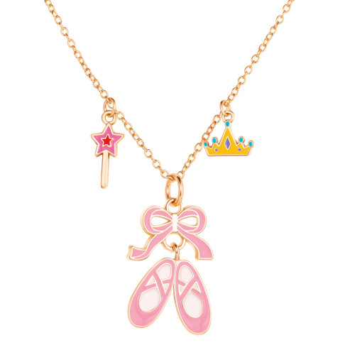 Pink Ballet Shoe Charming Whimsy Necklace by Girl Nation