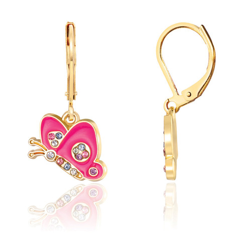 Crystal Butterfly Lever Back Earrings by Girl Nation