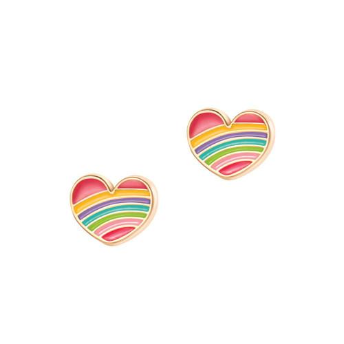 Rainbow Heart Cutie Enamel Stud Earrings by Girl Nation