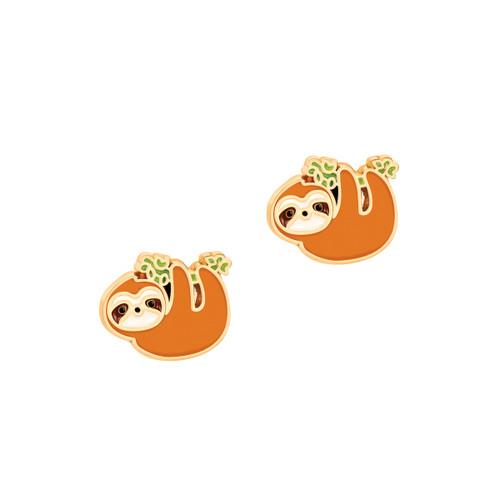 Sloth Cutie Enamel Stud Earrings by Girl Nation