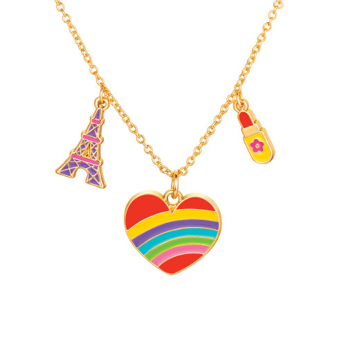 Paris Heart Charming Whimsy Necklace by Girl Nation