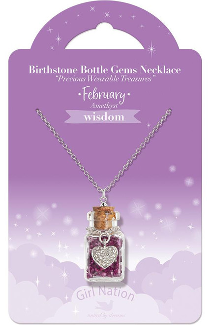 February's Birthstone Bottle Necklace by Girl Nation
