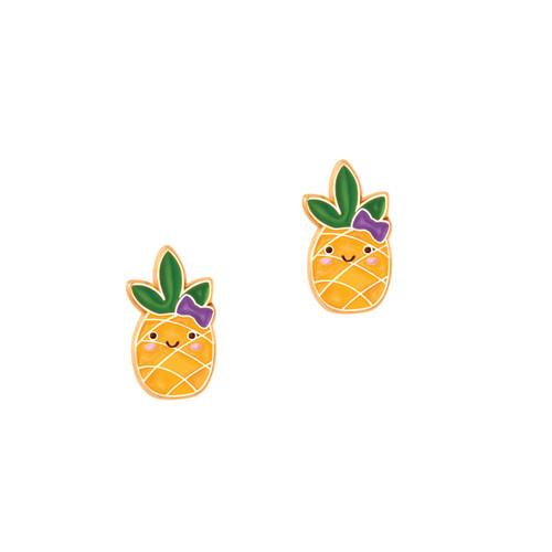 Cutie Enamel Studs Kawaii Pineapple
