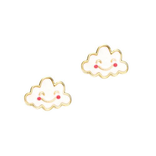 Cutie Enamel Studs Happy Skies Cloud