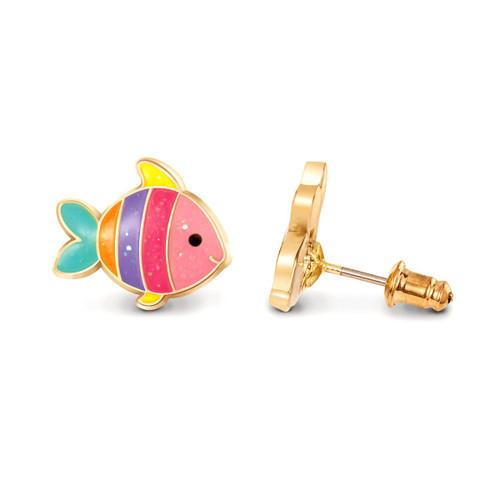 Glitter Rainbow Fish Cutie Enamel Studs by Girl Nation
