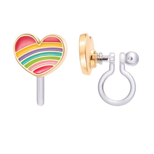 Rainbow Heart Clip On Earrings by Girl Nation
