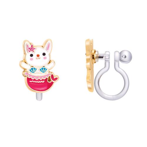 Bunny Mermaid Cutie Clip On Earrings by Girl Nation
