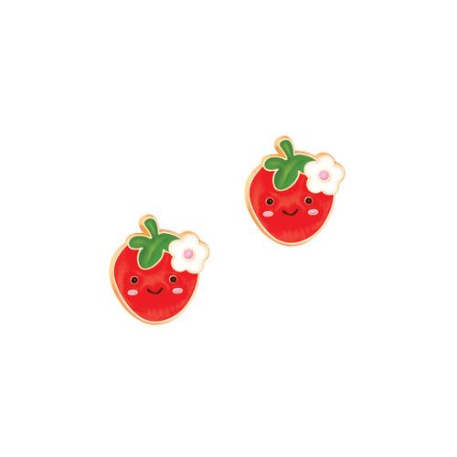 Strawberry Cutie Enamel Stud Earrings by Girl Nation