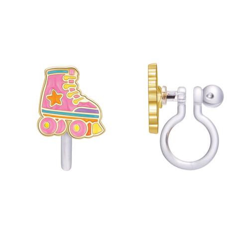 Roller Skate Cutie Enamel Clip On Earrings