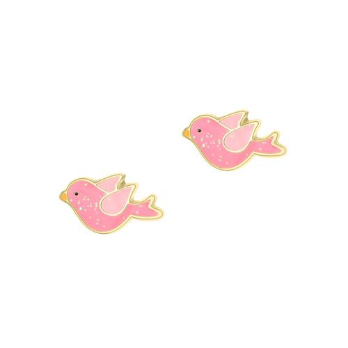 Twinkle Bird Pink Glitter Enamel Stud Earrings