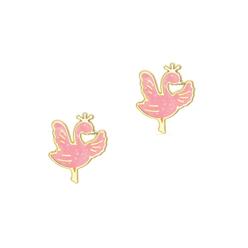 Sparkly Swan Pink Glitter Stud Earrings